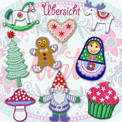 9 x Stickdatei, Stickmuster  -10x10- *Weihnachtsserie* by Bine Brändle
