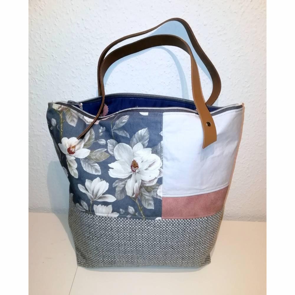 Handtasche, Schultertasche, grau-blau Bild 1