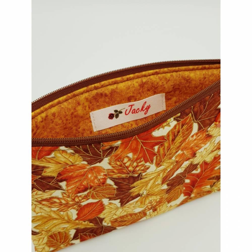 Kosmetiktasche Herbstblätter II - bunt - Blätter mit Goldrand Bild 1