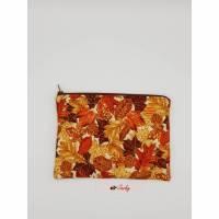 Kosmetiktasche Herbstblätter II - bunt - Blätter mit Goldrand Bild 2