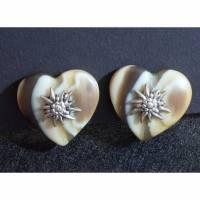 Vintage Trachten Ohrclips Herzen mit Edelweiß, beige, braun, 80er, 90er Jahre, Ohrringe, Trödel Dings da Bild 1