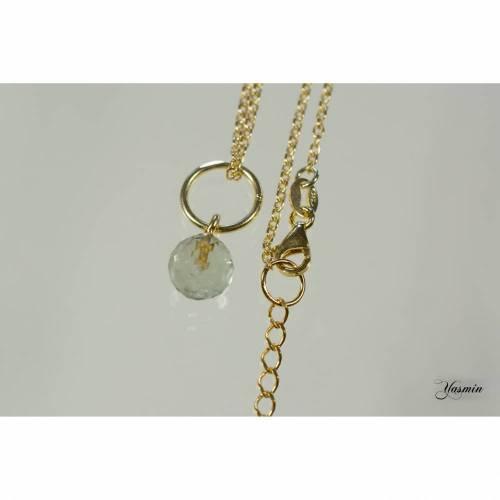 Facettierte Prasiolithkugel an 925er Silber vergoldet