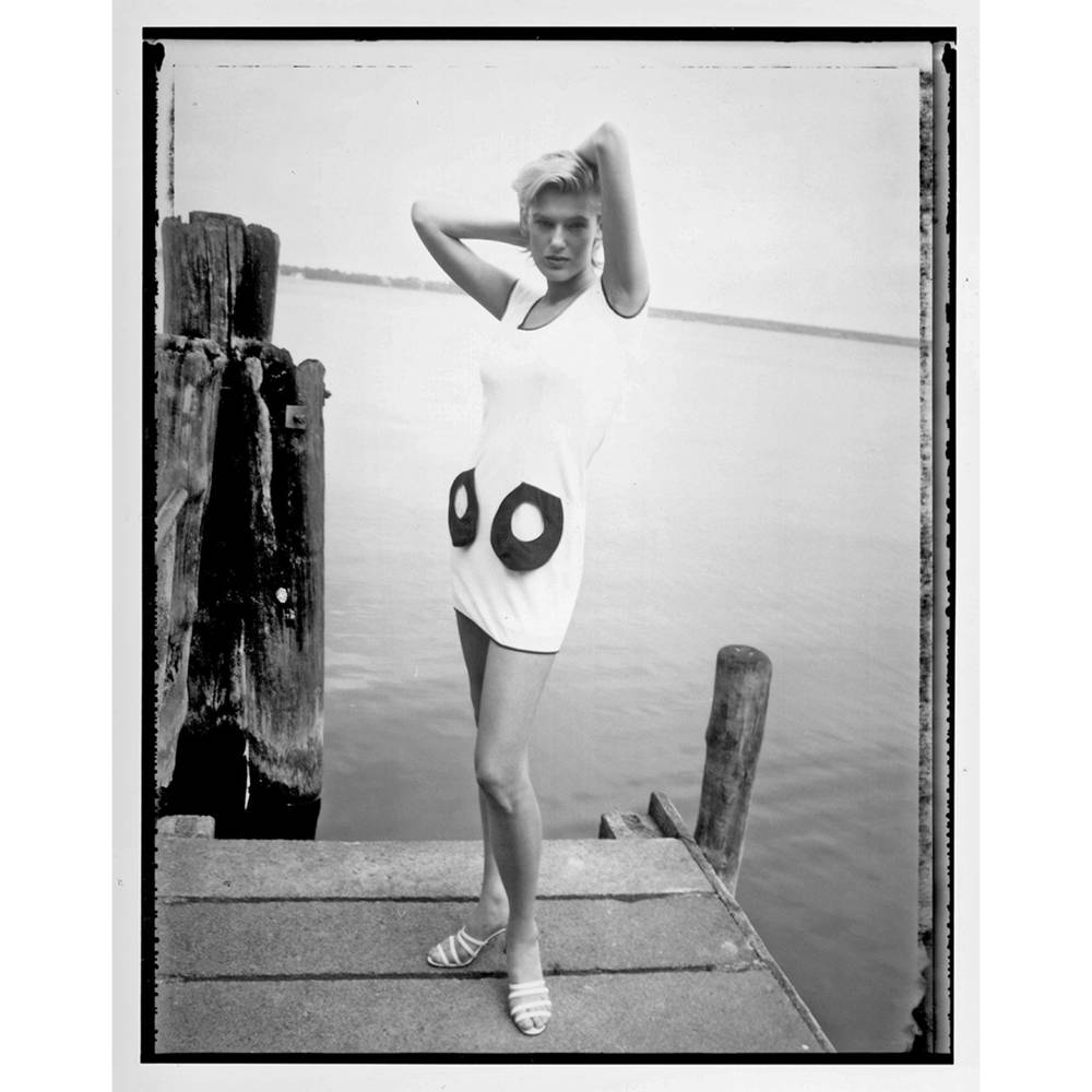 weiß-schwarzes JERSEY KLEID mit runden Taschen, kurz oder knielang, individualisierbar Bild 1