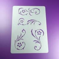 Schablone Spiral Ranken Ornament Rosetten - BO15 Bild 1