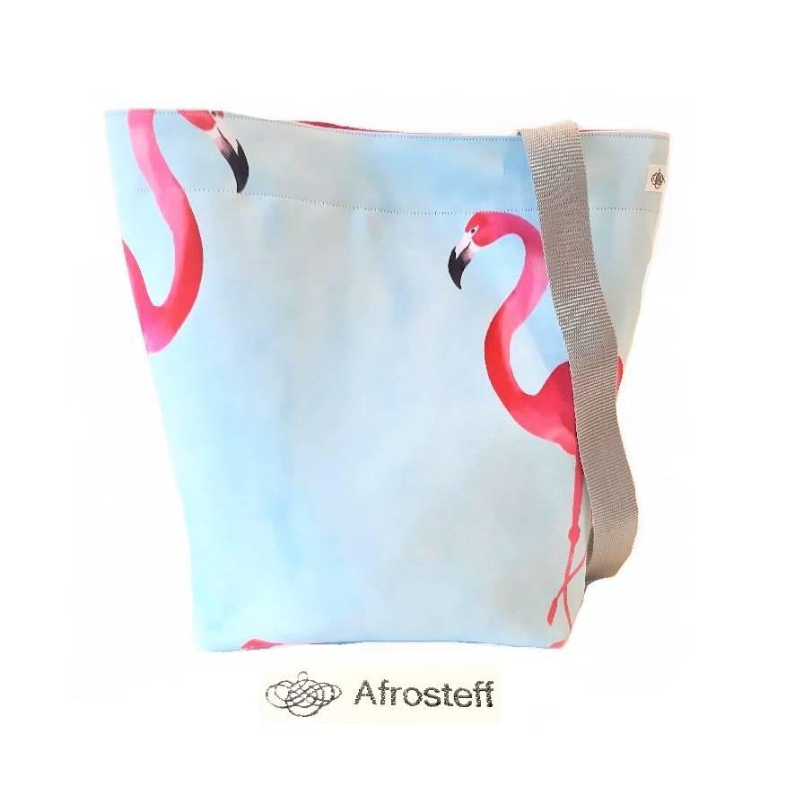 Handarbeitstasche, Projekttasche, Strandtasche mit Flamingos, Strickbeutel, Wolltasche Bild 1