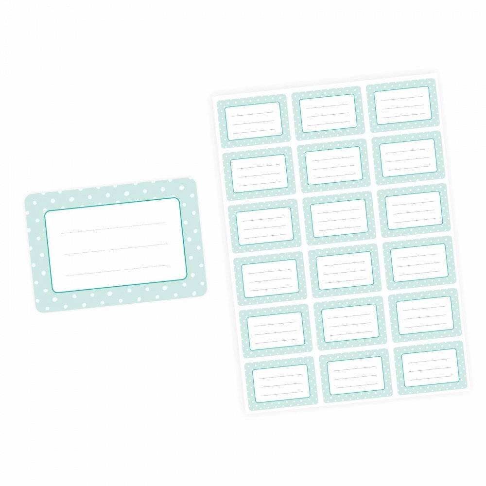 72 Blanko Etiketten mint Punkte Retro - 64 x 45 mm - Universaletiketten Haushaltsetiketten Sticker Aufkleber Bild 1