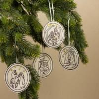 """Weihnachtlicher Baumschmuck Set """"Christliche Motive"""" Maschinengestickt nach selbst erstellten Grafiken UNIKATE Bild 1"""