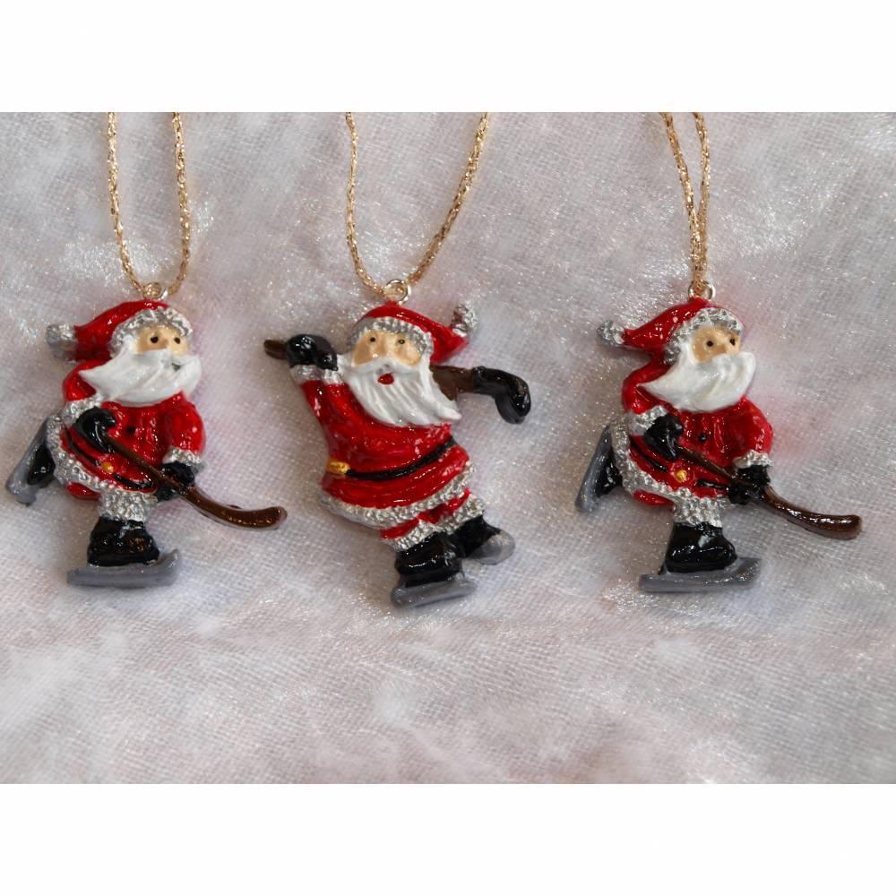 Baumschmuck Santa on Ice, Weihnachstmann 3 Tlg, Christbaumschmuck, Weihnachstdeko, Weihnachten,Adventsdeko, Geschenkanhänger Bild 1