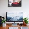 Schlafzimmer mit rotem Bett lost Place Leinwand Druck Fotografie 40x30cm Wanddeko Wandbild Bild 1