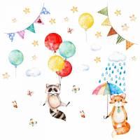 075 Wandtattoo Waschbär und Fuchs Luftballon Bild 1