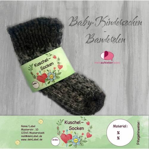6 Baby - Sockenbanderolen: Kuschelsocken - grün Herz - personalisierbar | mit transparente Klebepunkte