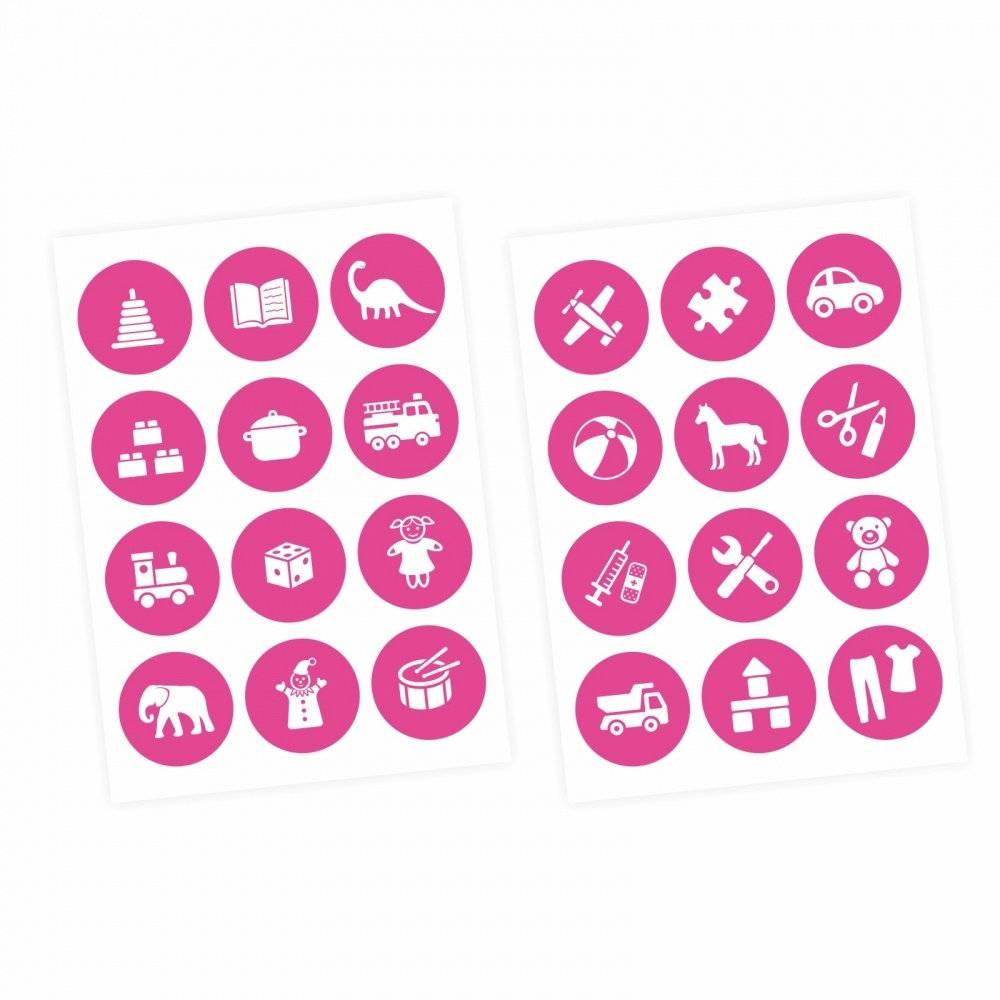 Möbelaufkleber Ordnungssticker für Spielzeug WEISS/ PINK Kinderzimmer Aufbewahrung Spielsachen Bild 1