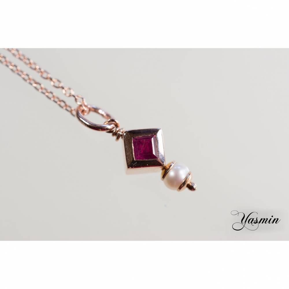 Rubin und Perle an Silber rosevergoldet Bild 1