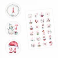 24 Adventskalender Zahlen Aufkleber Aquarell - rund 4 cm Ø - Sticker Weihnachten zum basteln dekorieren DIY Bild 1