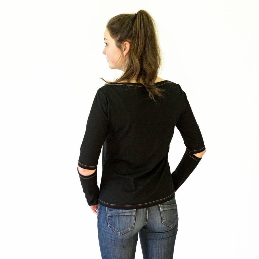 T-SHIRT mit Ärmelöffnung, U Boot Ausschnitt, schwarz, weiß, Jersey, Baumwolle Bild 1