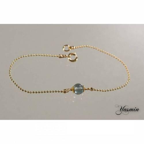 Blauer Fluorit an goldfilled Armband