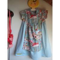 Kleinkind Bio Jersey Zwerglgarten Kleid in Größe 74- kurz Ärmel mit bunter Schürze im Dirndl-look Bild 1