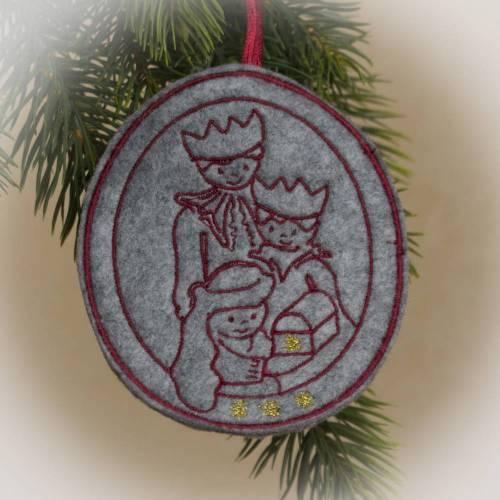 """Weihnachtlicher Baumschmuck """"Caspar, Melchior und Balthasar"""" Maschinengestickt nach selbst erstellter Grafik UNIKAT"""