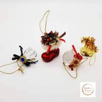 Vintage, Glaskugeln, Goldglöckchen, Christbaumschmuck, Baumschmuck für den Weihnachtsbaum, Dekoration, Geschenk, Weihnachten, Advent Bild 1