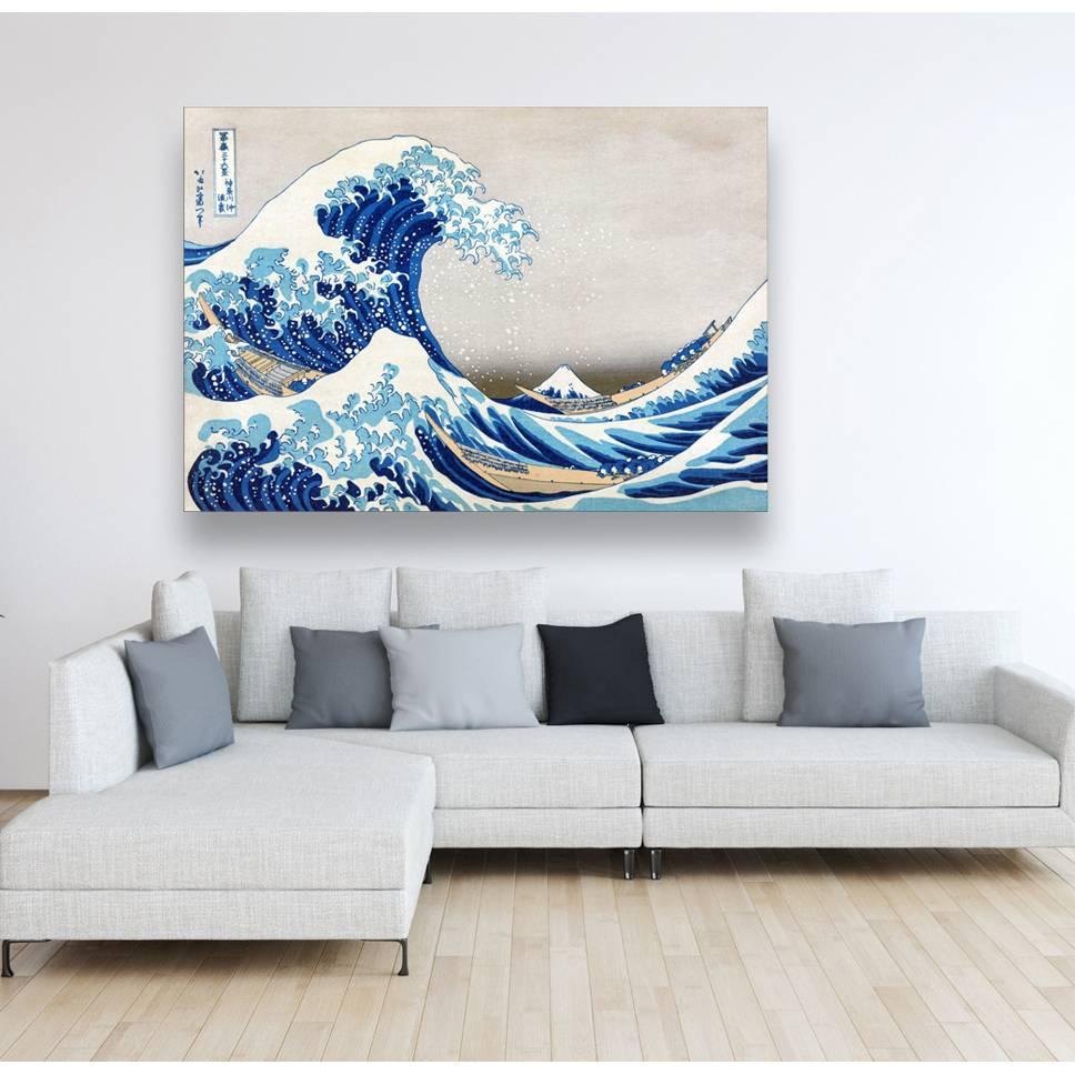 Leinwand Japanische Kunst - The great Wave - gewaltiges Meer - Wandbild -  Bilder für Wohnzimmer Schlafzimmer -  Asien Holzschnitt, abstrakt  Bild 1