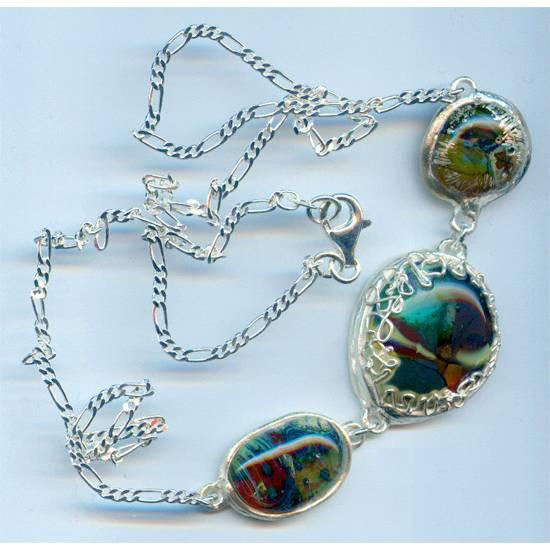 925er Figaro Silber-Kette mit 3 Glasanhängern in Feinsilbereinfassung - handmade, Unikat (5) Bild 1