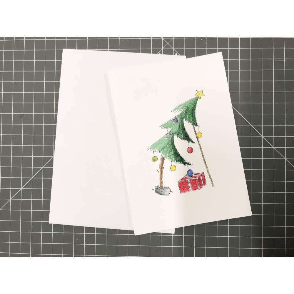 """Weihnachtskarte """"Schiefer Baum"""" A6 Bild 1"""