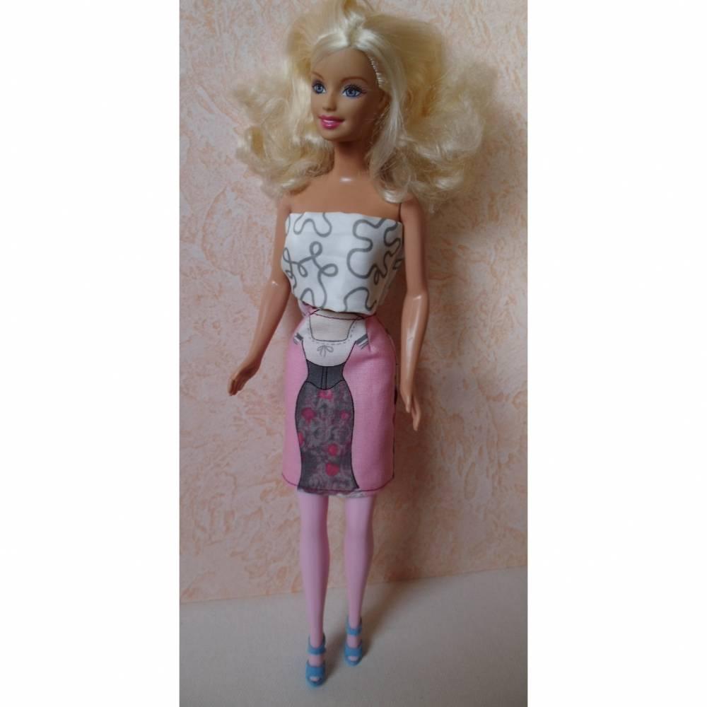 Barbie-Kleidung, Barbie-Rock, Rock für Barbiepuppe, Motivstoff  Bild 1
