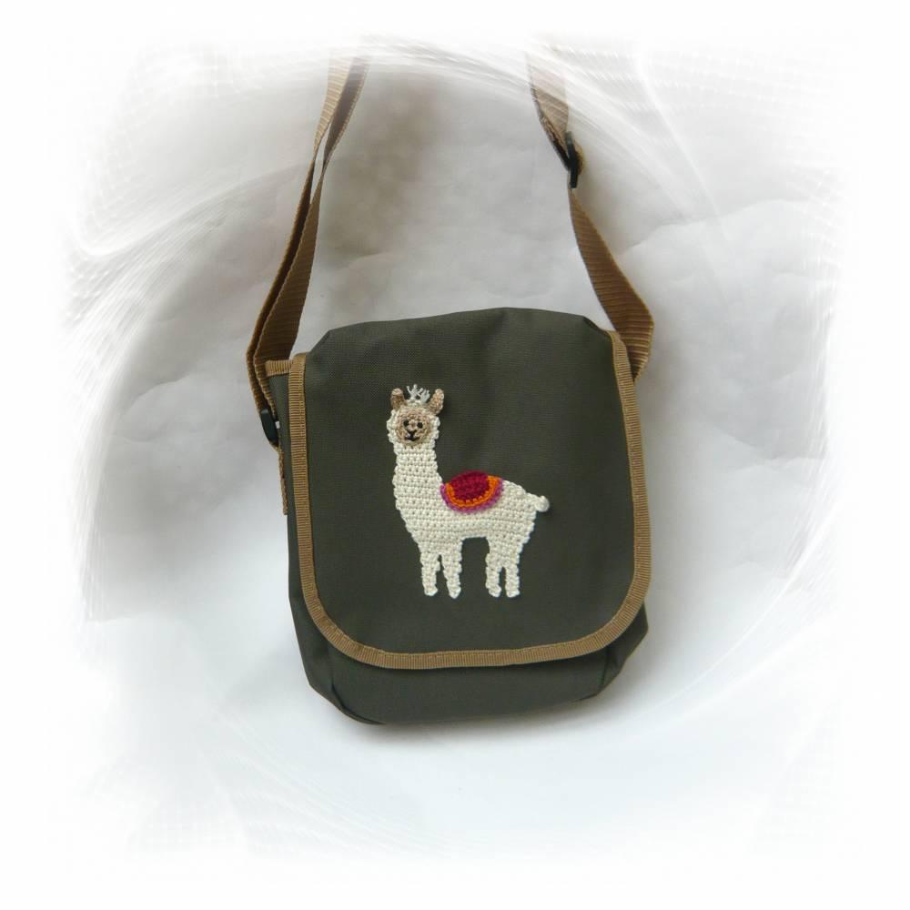 Lama Tasche, kleine Umhängetasche, olivgrüne Schultertasche, Kindertasche Bild 1