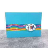 Einladungskarte zur Kommunion Regenbogen Fisch Bild 1
