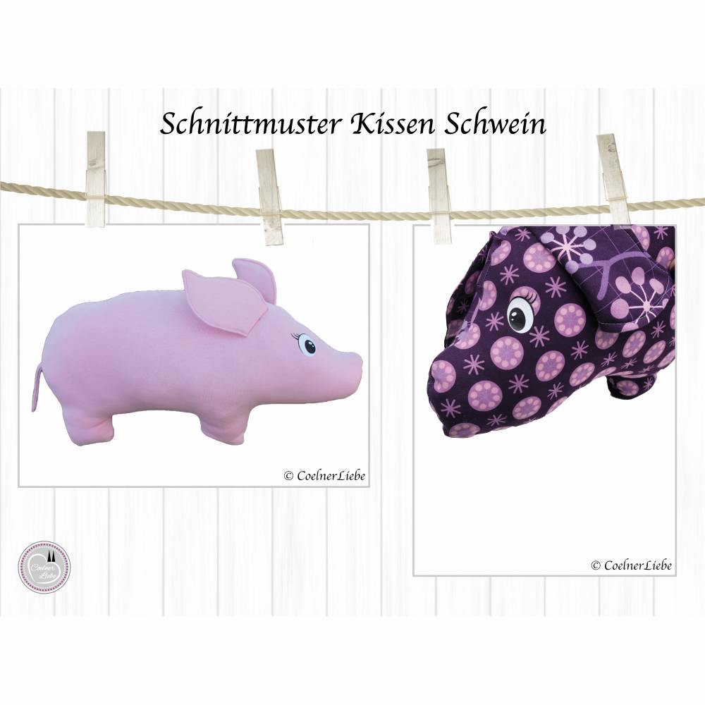 EBook Kissen Schwein, Schnittmuster im A4 Format zum Ausdrucken, inkl. Anleitung und Plottderatei Bild 1