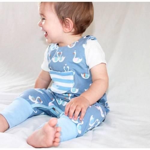 Baby Strampler, Blau grau gekrönten Schwan Strampler, Öko Baumwolle gr. 68, Schwäne mit Krone