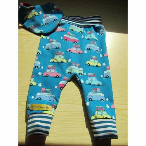 Babies Pants and Bib Set Öko-Pumphose und Wendehalstuch in turkis Urlaubs Autos