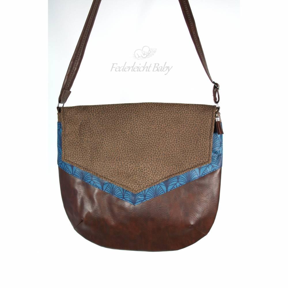 Damen-Handtasche in braun und blau, Unikat Bild 1