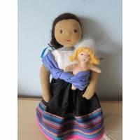 Mutter Kind Puppe Ökologische Indios Puppe Pepita und Marisol,Mutter Baby Waldorfstil, Mutter und Kind Puppen Bild 1