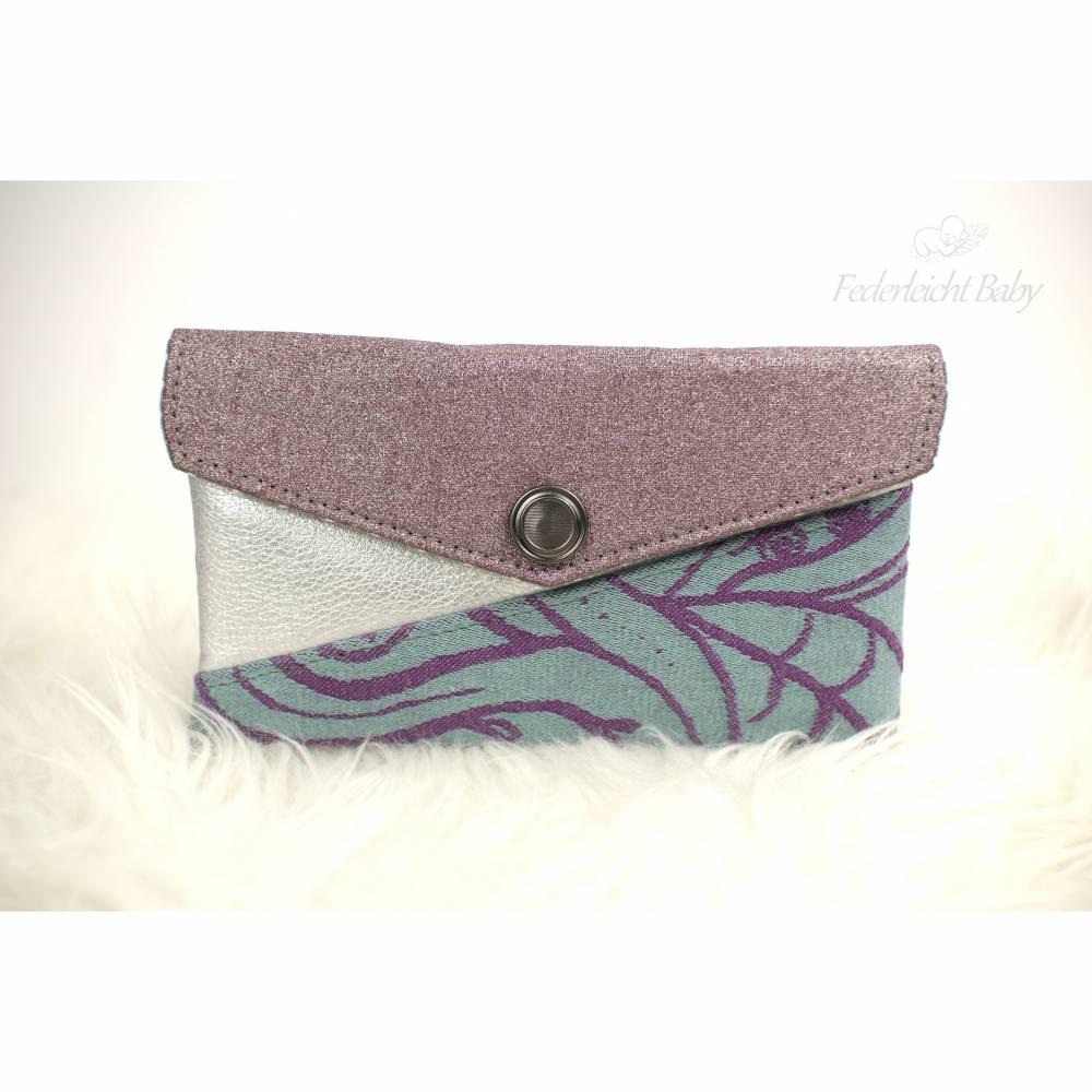 Smartphone-Tasche Mini-Geldbeutel Kuori in mint, lila, silber und glitzer-alt-flieder Bild 1