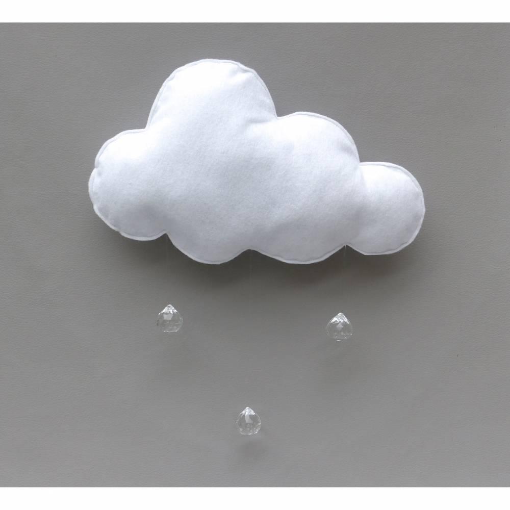 Mobile-Wolke mit Glas-Tropfen, Glaskristallen, Geschenk Geburt, Taufe Bild 1