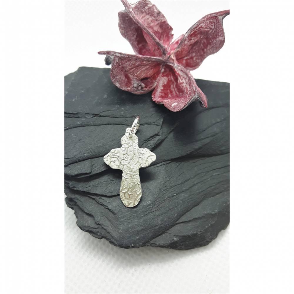 Silber-Kreuz aus 999 Silber, beidseitig tragbar, Geschenk für Firmung, Konfirmation oder Kommunion Bild 1