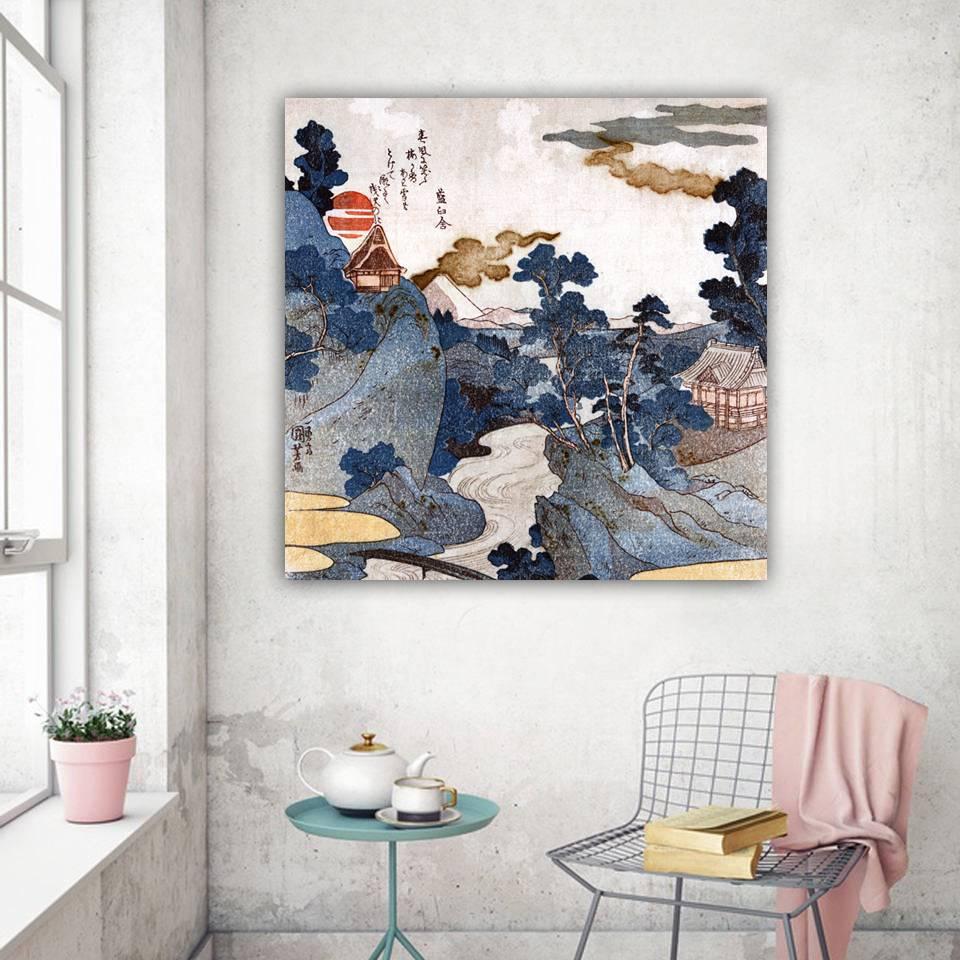 Landschaft Fuji - Japanische Kunst - Leinwandbild - Vintage Bilder - Wandbild - Holzschnitt - abstrakt Bild 1