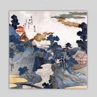 Landschaft Fuji - Japanische Kunst - Leinwandbild - Vintage Bilder - Wandbild - Holzschnitt - abstrakt Bild 2