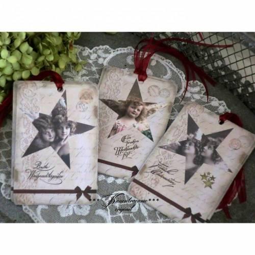 Weihnachten, Weihnachtsanhänger mit Engeln, Geschenkanhänger im Vintage Stil, Eigenentwurf & Anfertigung, Set No 12