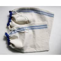 Leinen-Beutel, Brotbeutel Leinen, Upcycling Brötchenbeute mit blauen Streifenl aus Leinen mit Baumwolle,Leinensack, Wunschgröße Bäckertasche,  Bild 1