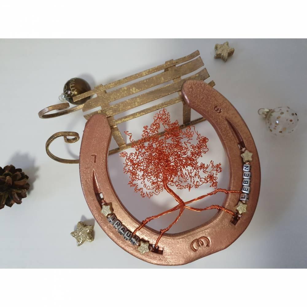 Hufeisen mit Lebensbaum, Glücksbringer, Geschenk, Deko, Unikat Bild 1