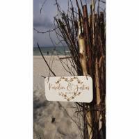 Namensschild Namen Herz Hochzeitsgeschenk Holzschild Schild HDF weiß  Bild 1