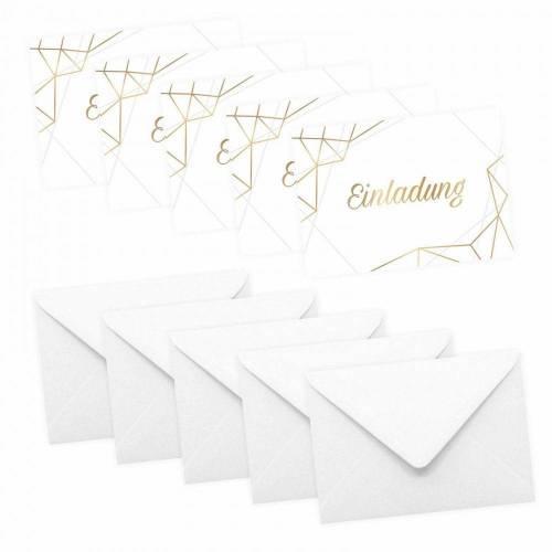 5 Klapp-Einladungskarten Linien Gold inkl. 5 weißen Briefumschlägen - Hochzeit Geburtstag Konfirmation Jubiläum