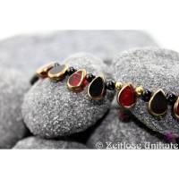 """Einmalige Kette schwarz / rot mit Glastropfen mit """"Goldrand"""", einmalige Kette, leger / Schmuck / Geschenkfertig Bild 1"""
