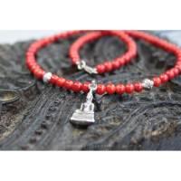 Halskette aus Bambuskoralle und Buddha Bild 1