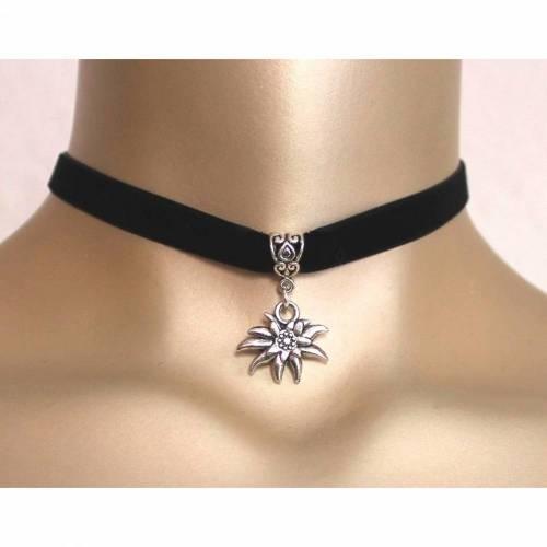 Halsband Choker Edelweiß Samt Collierschlaufe schwarzes Halsband Dirndl 10 mm breit Dirndl gothic