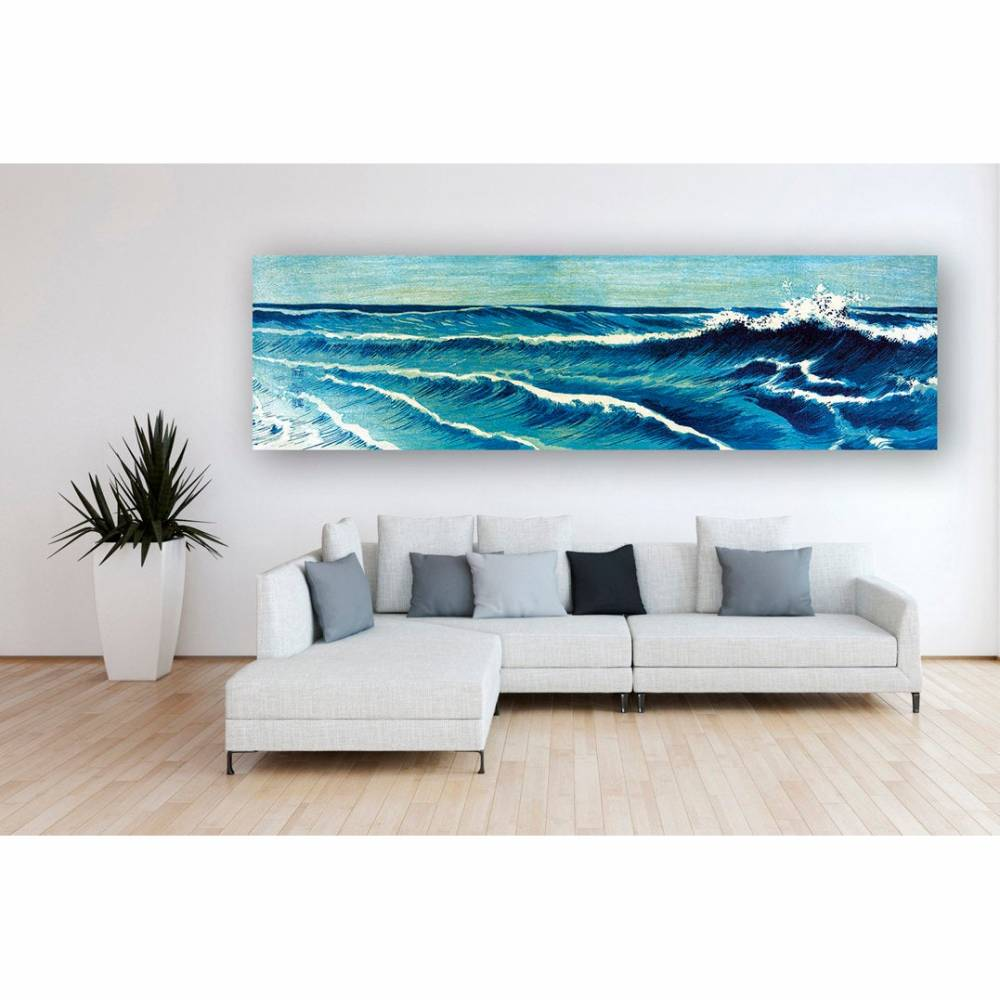 Blue Waves - Japanese Art - Leinwand Bild - Giclee - Kunstdruck - Abstrakt - Wandbild - Panorama Format - Galer Bild 1