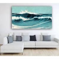 Leinwandbild Dancing Waves, Japanische Kunst Abstrakt Meer Blau Türkis, Weiß, Kunst, Artprint, Holzschnitt um 1900 Bild 1