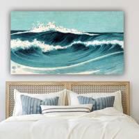Leinwandbild Dancing Waves, Japanische Kunst Abstrakt Meer Blau Türkis, Weiß, Kunst, Artprint, Holzschnitt um 1900 Bild 3
